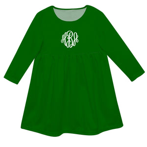 Girls green and white dress with monogram - Wimziy&Co.
