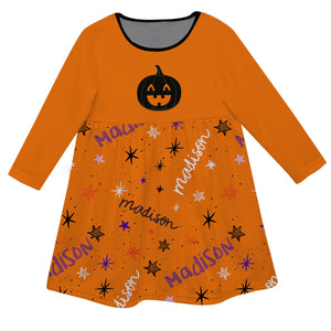 Girls orange jack o lantern dress with name - Wimziy&Co.