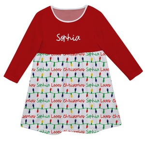 Red with Christmas lights print and Name Long Sleeve Epic Dress