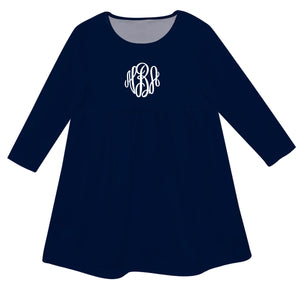 Navy with fancy circle monogram long sleeve Epic dress