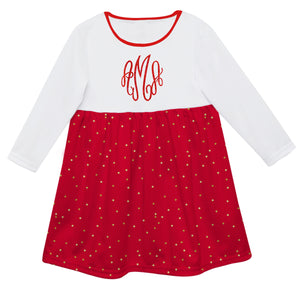 Girls red and white dress with monogram - Wimziy&Co.