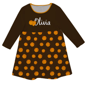 Girls brown pumpkins dress with name - Wimziy&Co.