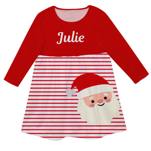 Red and white striped long sleeve Epic dress with Santa face and name