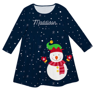 Navy long sleeve Epic dress with snowman print and name