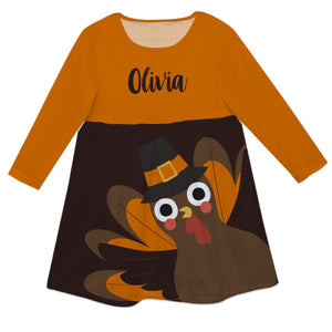 Turkey Name Brown And Orange Long Sleeve Epic Dress