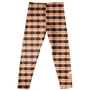 Girls brown and orange leggings with monogram - Wimziy&Co.