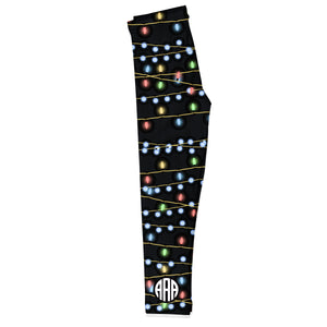 Black leggings with Christmas lights print and fancy circle monogram