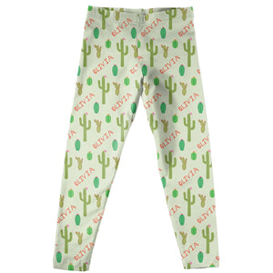 Girls green cactus leggings with name - Wimziy&Co.
