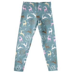 Girls blue deers leggings with monogram - Wimziy&Co.