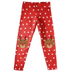 Red polka dot leggings with Rudolph print