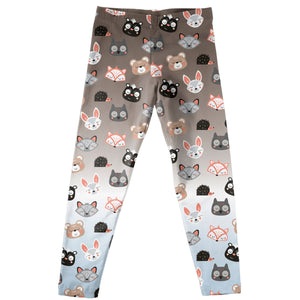 Forest Animals Face Print Brown Degrade Leggings