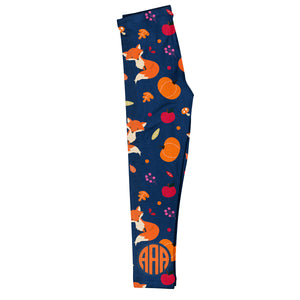 Fox and Pumpkin Monogram Navy Leggings