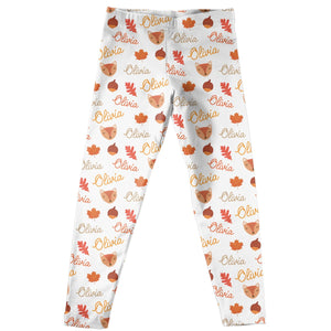 Girls white woodland leggings with name - Wimziy&Co.