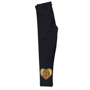 Girls black and yellow leggings with monogram - Wimziy&Co.