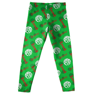 Girls green and multic leggings with name and monogram - Wimziy&Co.