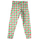 Girls green and red houndstooth leggings with monogram - Wimziy&Co.