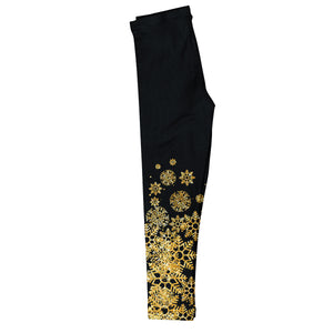 Girls black and yellow snowflakes leggings - Wimziy&Co.