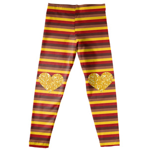 Girls brown and yellow striped leggings - Wimziy&Co.