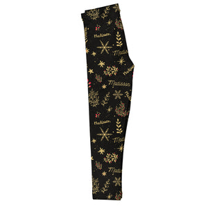 Girls black and yellow christmas elemen leggings with name - Wimziy&Co.