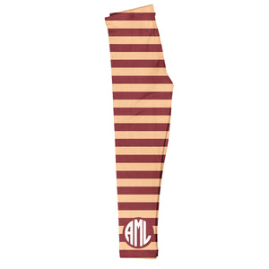 Girls brown and peach striped leggings with monogram - Wimziy&Co.