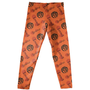 Girls orange and brown leggings with name and monogram - Wimziy&Co.