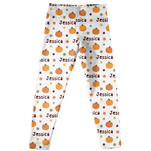 Pumpkin White Leggings