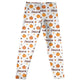 Girls white and orange pumpkins leggings with name - Wimziy&Co.