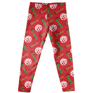 Girls red  leggings with name and monogram - Wimziy&Co.