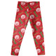 Red leggings with all over  block monogram and name print