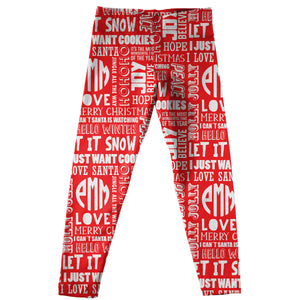 Red leggings with Christmas all over  sayings and block monogram print