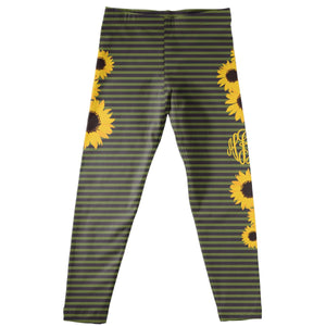 Sunflowers Monogram Green Stripes Leggings