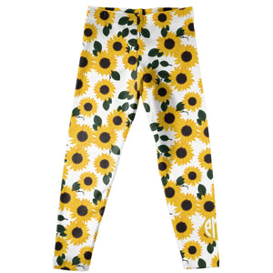 Girls yellow and white sunflowers leggings with monogram - Wimziy&Co.
