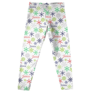 White leggings with all over snowflakes and name print