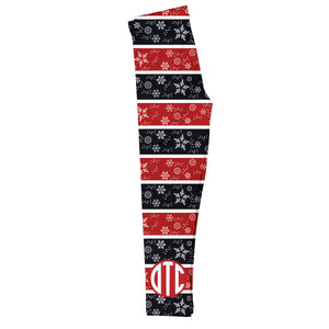 Black and red striped leggings with snowflake print and block monogram