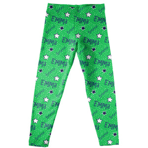 Girls green and multic stars leggings with name - Wimziy&Co.