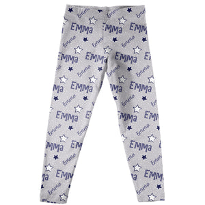 Girls gray and multic stars leggings with name - Wimziy&Co.