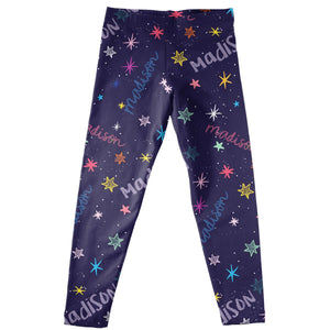 Girls blue and multic stars leggings with name - Wimziy&Co.