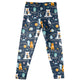 Woodland Animals Print Navy Leggings