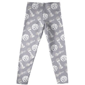 Grey leggings with all over  name and block monogram print