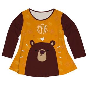 Girls black and brown bears blouse with monogram - Wimziy&Co.