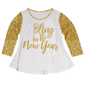 Girls white and yellow new-years blouse - Wimziy&Co.