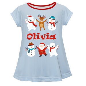 Light blue short sleeve Laurie top with Christmas friends and name print