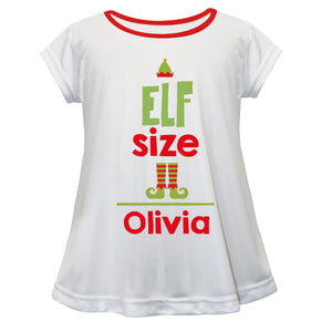 White short sleeve Laurie top with elf saying and name print