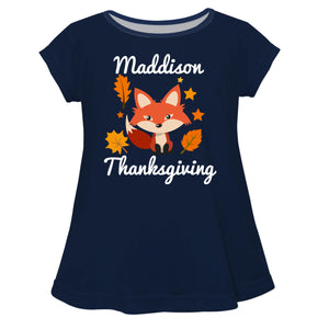 Fox Thanksgiving Name Navy Short Sleeve Laurie Top