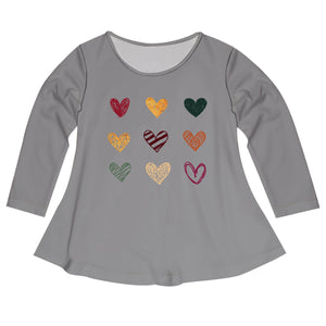 Hearts Gray Long Sleeve Laurie Top