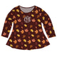 Leaves Monogram Brown Long Sleeve Laurie Top