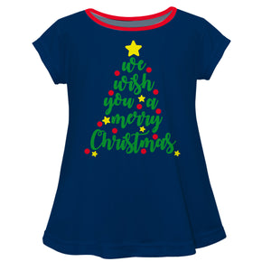 Girls navy and green christmas tree blouse - Wimziy&Co.