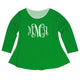 Girls green and white blouse with monogram - Wimziy&Co.