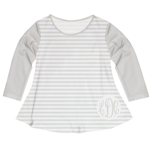 Girls white and gray striped blouse with monogram - Wimziy&Co.
