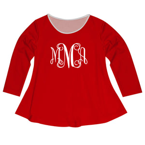 Girls red solid blouse with monogram - Wimziy&Co.